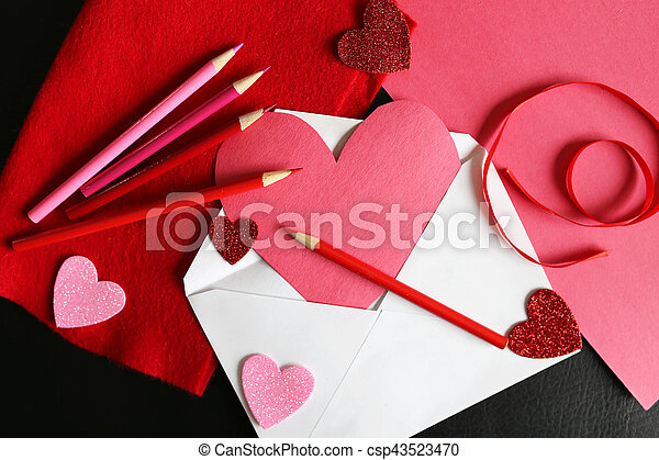 heart shaped valentine s day homemade card in envelope with drawing