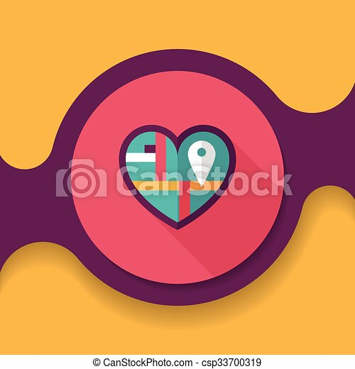 Heart shaped wedding invitation flat icon with long shadow,eps10 ...