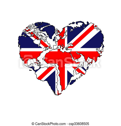 heart-shaped world map UK flag  - csp33608505