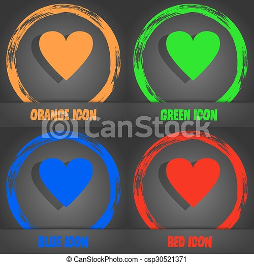 Heart sign icon. Love symbol. Fashionable modern style. In the orange, green, blue, red design. Vector - csp30521371