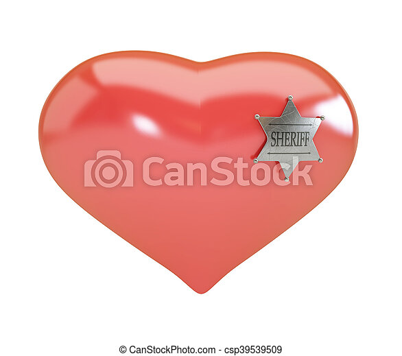 Heart sign sheriff's badge on white background. 3d Illustrations - csp39539509
