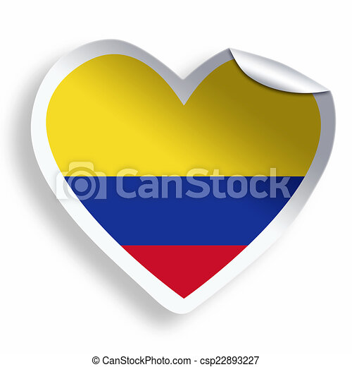 Heart sticker with flag of colombia isolated on white csp22893227