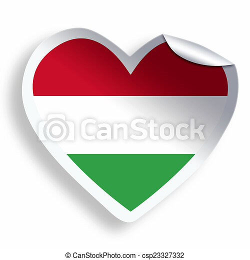 Heart sticker with flag of hungary isolated on white csp23327332