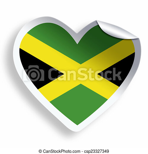 Heart sticker with flag of jamaica isolated on white csp23327349