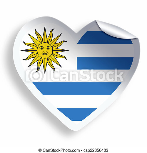 Heart sticker with flag of uruguay isolated on white csp22856483