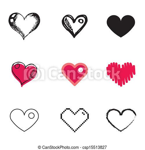 heart symbol icons set - csp15513827