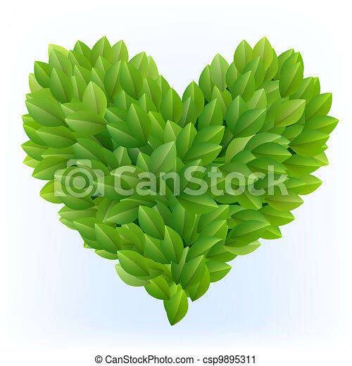 Heart symbol in green leaves - csp9895311