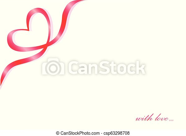 Heart symbol of a red ribbon in the corner on a white background, text with love, horizontal - csp63298708