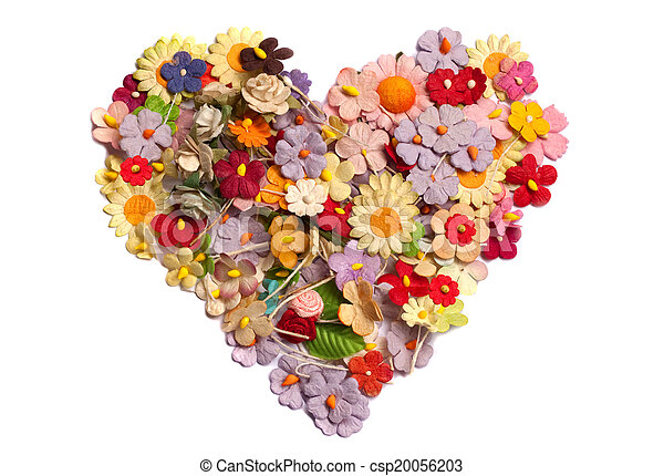 Heart that made of paper flower colorful of handicraft paper flower heart that made of paper flower csp20056203 mightylinksfo