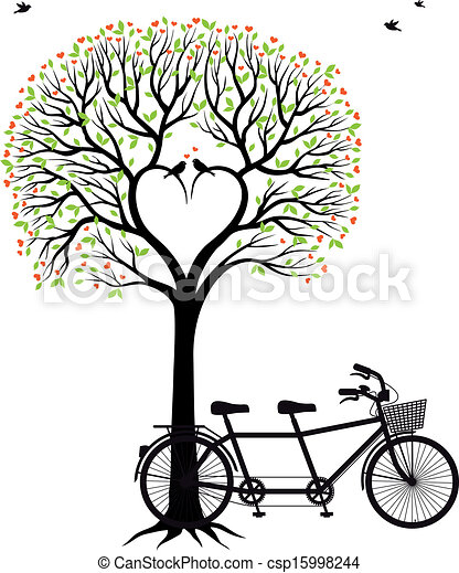 heart tree with birds and bicycle  - csp15998244