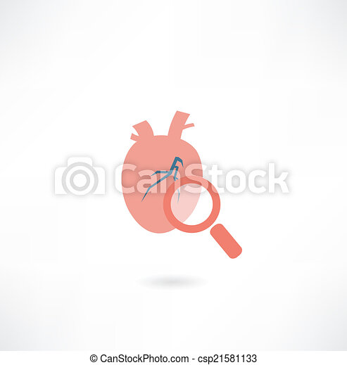 heart under a magnifying glass icon - csp21581133
