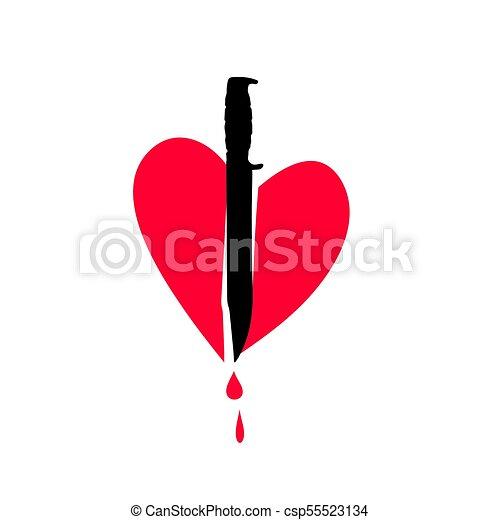 Corazón de icono. Cuchillo en el corazón. Metáfora de amor no correspondido. - csp55523134