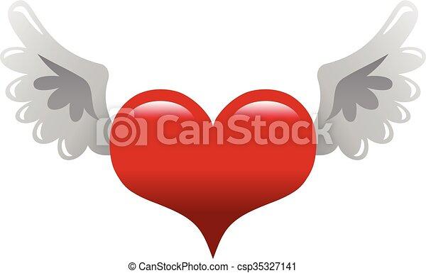 Line Art Love Heart : Heart wings vector icon eps search clip art illustration