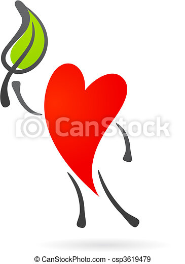 Heart with a leaf - csp3619479