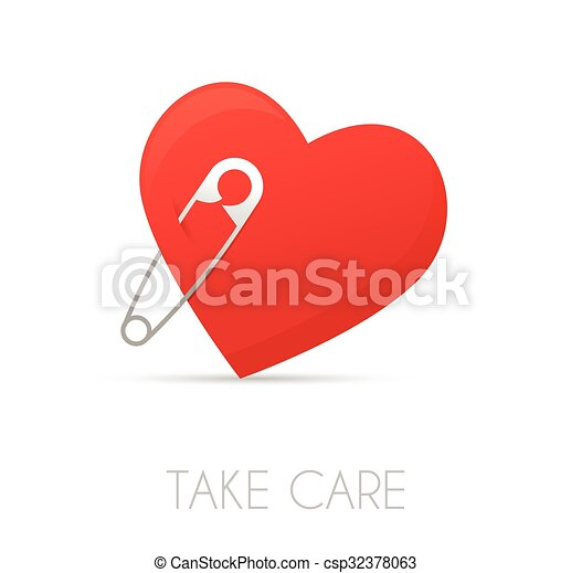 Heart with a safe pin - csp32378063