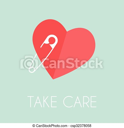 Heart with a safe pin - csp32378058