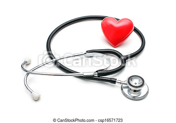 Heart with a stethoscope - csp16571723