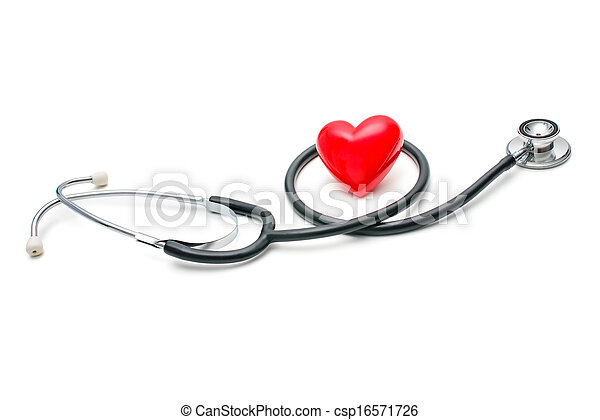 Heart with a stethoscope - csp16571726