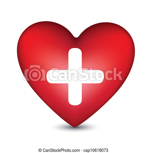 illustration of a heart with a white cross in the center isolated