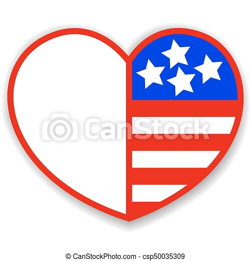 Heart With American Symbols Heart With Symbols Of The Usa And Blank