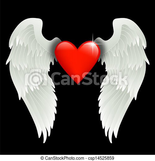 Shiny Red Heart With Angel Wings