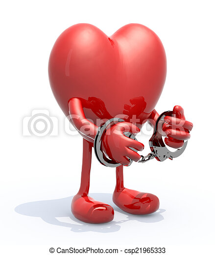 heart with arms, legs and handcuffs on hands - csp21965333