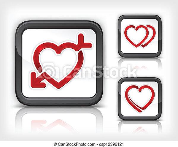 Heart with arrow in button - csp12396121