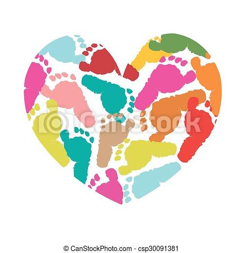 heart with baby foot prints vector background rh canstockphoto com Hurt Foot Clip Art Broken Foot Clip Art