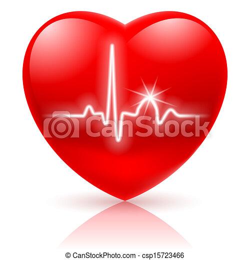 Heart with cardiogram. - csp15723466