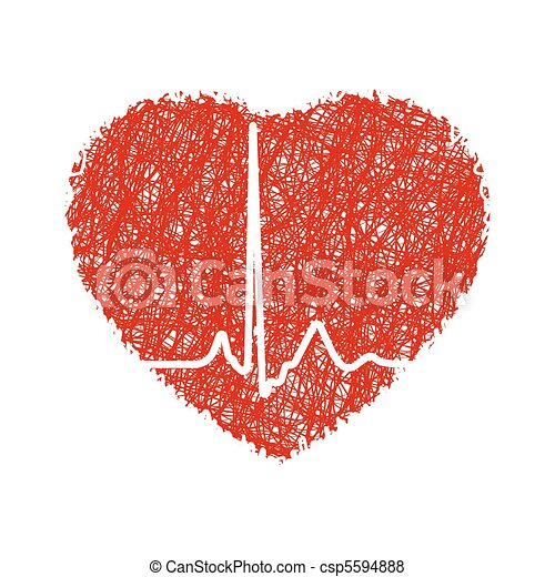 Heart with cardiogram. EPS 8 - csp5594888