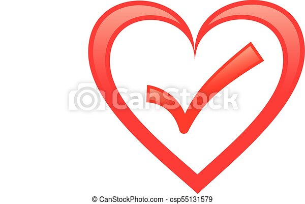 Heart with check mark - csp55131579