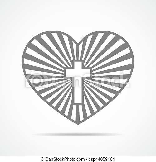 Heart With Christian Cross Vector Illustration Heart With