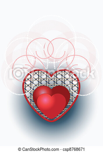 Heart with curves and beads - csp8768671