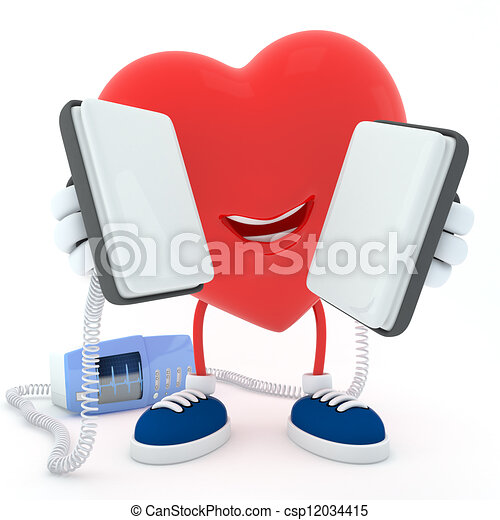 Heart with defibrillator - csp12034415