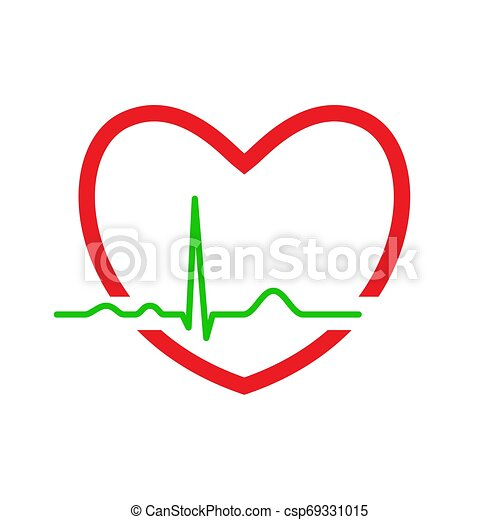 Heart with ekg line. electrocardiography. medical design ...