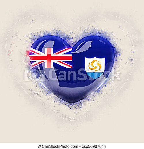 Heart with flag of anguilla - csp56987644