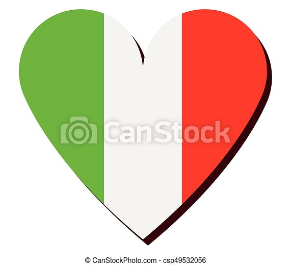heart with flag of italy - csp49532056