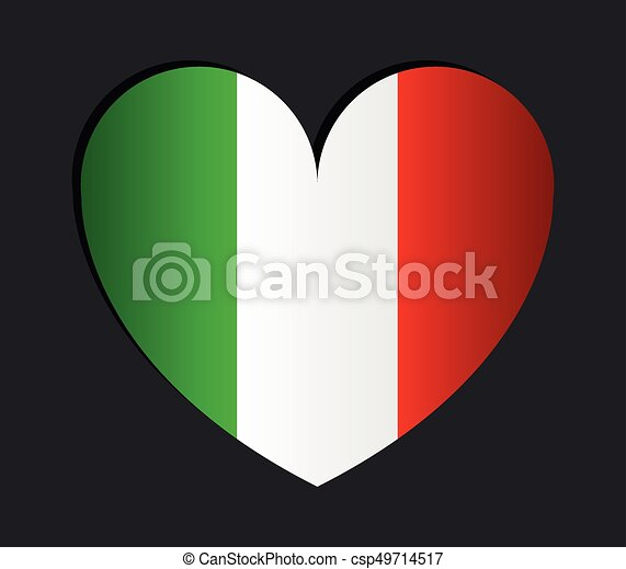 heart with flag of italy - csp49714517