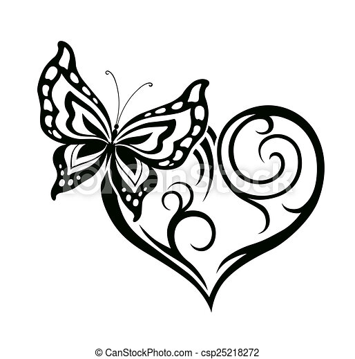 Heart With Flower And Butterfly Abstract Silhouette Of Decorative