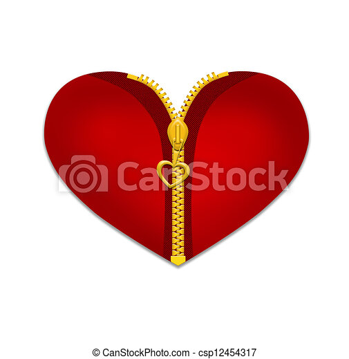 Heart with gold zipper isolated on white background ...