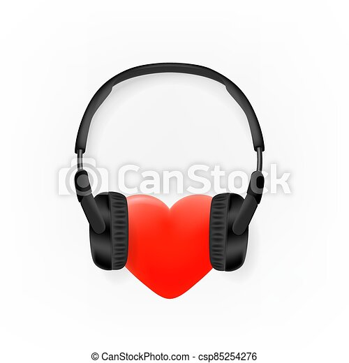 Heart with headphones vector icon isolated on white background - csp85254276