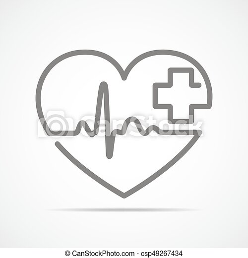 Heart With Heartbeat Sign And With Cross Vector Illustration Gray