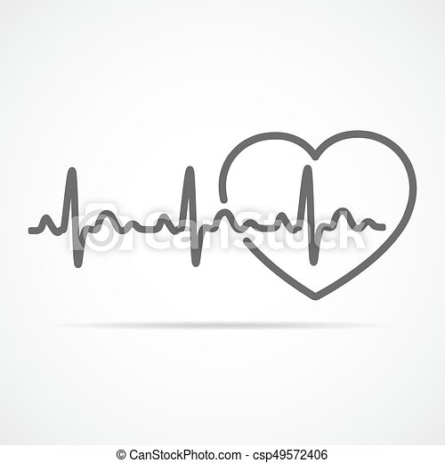 Heart With Heartbeat Sign Vector Illustration Black Heart Icon