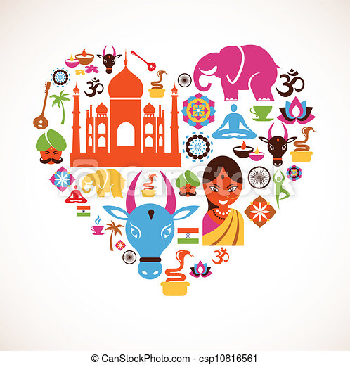 Heart with India vector icons - csp10816561