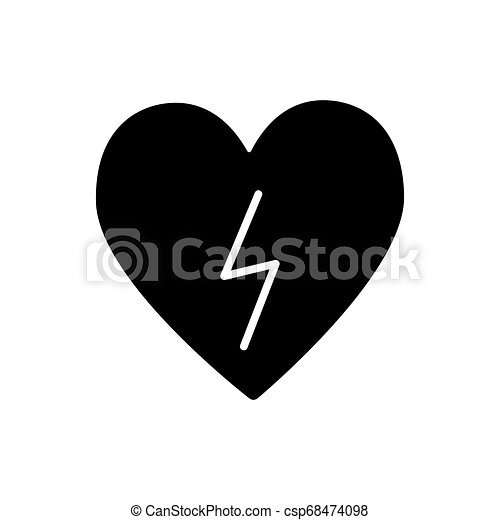 Heart With Lightning Solid Icon Heart With Lightning Bolt Vector Illustration Isolated On White Defibrillator Glyph Style