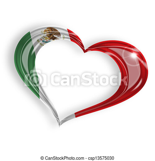 heart with mexican flag colors on white background - csp13575030