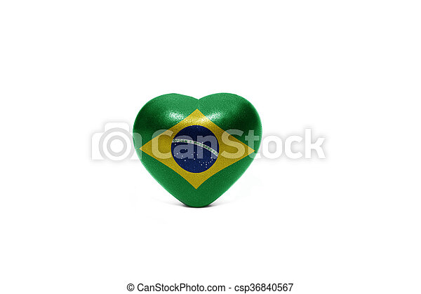 heart with national flag of brazil - csp36840567