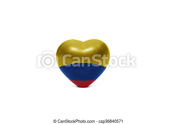 heart with national flag of colombia - csp36840571