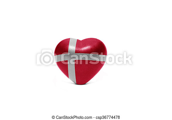 heart with national flag of denmark - csp36774478