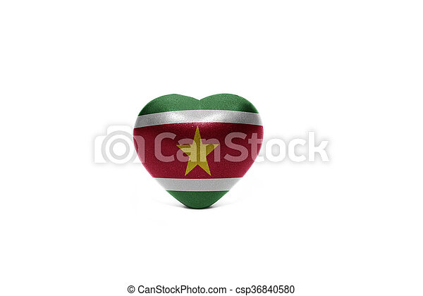 heart with national flag of suriname - csp36840580